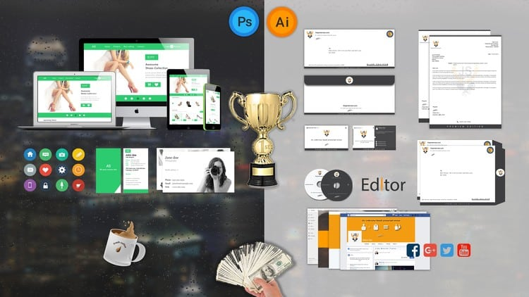 The Business Graphic Design with Photoshop & Illustrator